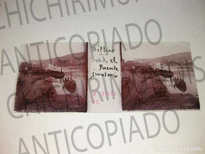 Fotografía antigua: Lote de 17 placas estereoscópicas de Bilbao. Animadas. Fotógrafo M. Riaza. - Foto 24 - 194073763