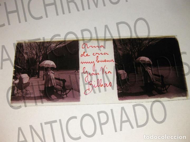 Fotografía antigua: Lote de 17 placas estereoscópicas de Bilbao. Animadas. Fotógrafo M. Riaza. - Foto 29 - 194073763