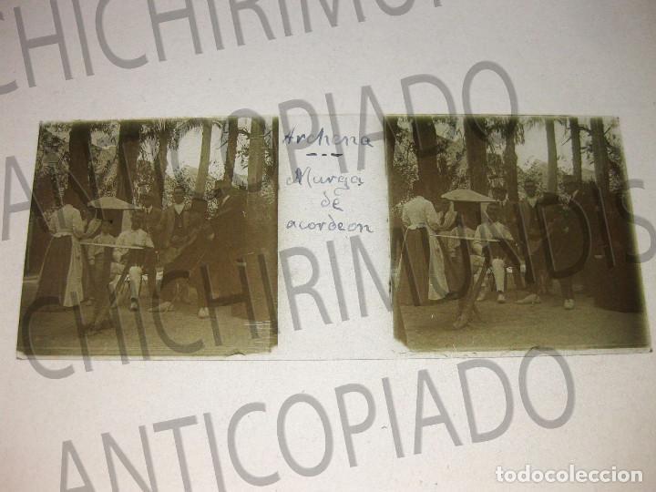 Fotografía antigua: Lote de 11 placas estereoscópicas de Archena, Murcia. Tipos populares. Principios siglo XX. - Foto 2 - 194074053