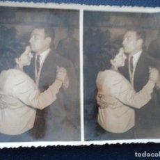 Fotografía antigua: ANTIGUA ESTEREOSCOPICA PAREJA BAILANDO FOTO SALAS DE BARBASTRO 12 X 8 CM. Lote 194185272