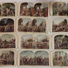 Fotografía antigua: FOTOGRAFIAS POSTALES ESTEREOSCOPICAS ESTEREOGRAFICAS ANTIGUAS LOTE DE 12 VIDA Y PASIÓN DE CRISTO. Lote 194536062