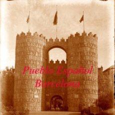 Fotografía antigua: PUEBLO ESPAÑOL - BARCELONA - MURALLAS ÁVILA - 1929 - NEGATIVO DE VIDRIO . Lote 194579277