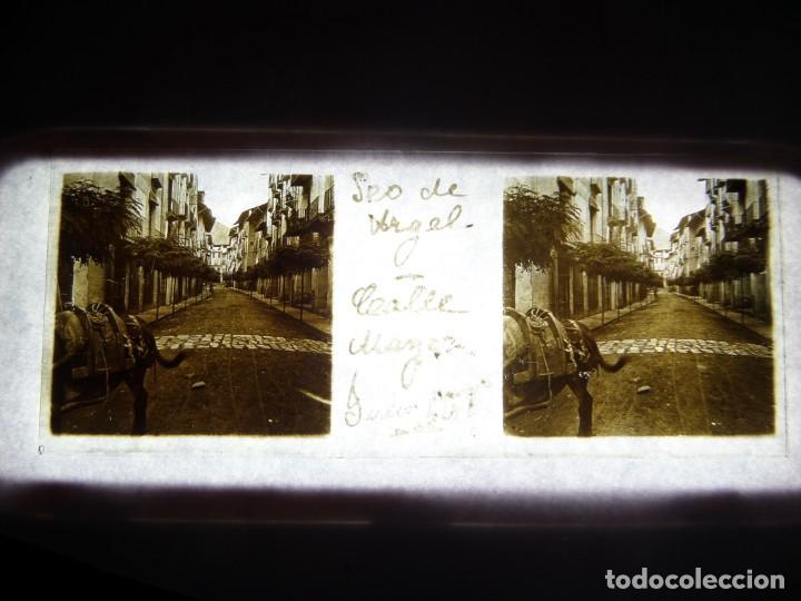 FOTO POSITIVO EN CRISTAL ANTIGUO SEO DE URGEL - LERIDA . (Fotografía Antigua - Estereoscópicas)
