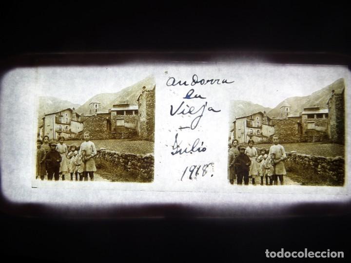 FOTO POSITIVO EN CRISTAL ANTIGUO ANDORRA LA VIEJA 1918. (Fotografía Antigua - Estereoscópicas)