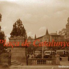 Fotografía antigua: BARCELONA - PLAÇA DE CATALUNYA - 1940'S - NEGATIU DE VIDRE. Lote 195337965