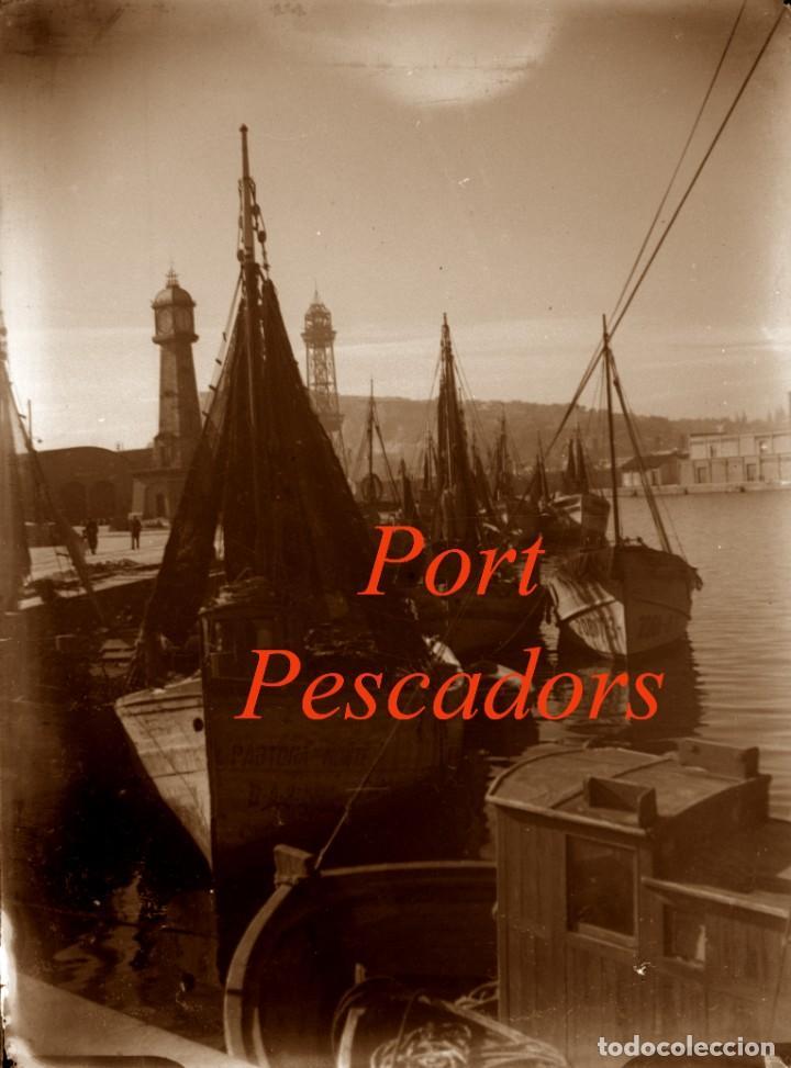 PORT - PESCADORS - BARCELONA - 1940'S - NEGATIU DE VIDRE (Fotografía Antigua - Estereoscópicas)