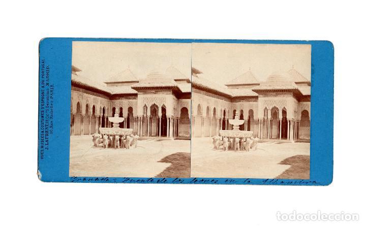 GRANADA.- ALHAMBRA.- FUENTE DE LOS LEONES.- J. LAURENT. (Fotografía Antigua - Estereoscópicas)