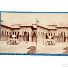 Fotografía antigua: GRANADA.- ALHAMBRA.- FUENTE DE LOS LEONES.- J. LAURENT.. Lote 196072316