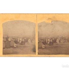 Fotografía antigua: FOTOGRAFÍA ESTEREOSCÓPICA. M SANTOJA ALCOY. GRUPO EN EL CAMPO.. Lote 197427456