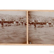 Fotografía antigua: EN LA PLAYA, VISTA DE BASCAS Y CASETAS PESCADORES. FOTO. E. JORDÁ BLANES. ALCOY.. Lote 197431708