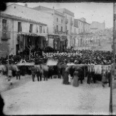 Fotografía antigua: CATALUÑA, PUEBLO POR IDENTIFICAR, FINALES S.XIX. CRISTAL NEGATIVO ESTEREO 9X18 CM.. Lote 198051201