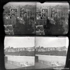 Fotografía antigua: CATALUÑA, PUEBLO POR IDENTIFICAR, FINALES S.XIX. 2 CRISTALES NEGATIVOS ESTEREO 9X18 CM.. Lote 198080852