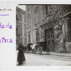 Fotografía antigua: VALENCIA, FACHADA PALACIO MARQUÉSDE DOS AGUAS. 1915 APROX. CRISTAL POSITIVO ESTEREO 10X4CM.. Lote 198083196