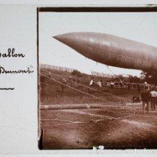 Fotografía antigua: EL GLOBO DIRIGIBLE DE SANTOS DUMONT, 1915 APROX. CRISTAL POSITIVO ESTEREO 10X4 CM.. Lote 198083636