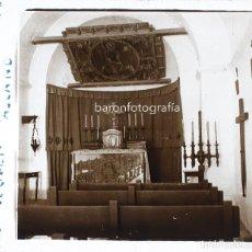 Fotografía antigua: POBLA DE LILLET - CAPELLA DE LA COLONIA ASLAND. 1915 APROX. CRISTAL POSITIVO ESTEREO 6X13CM.. Lote 198155562