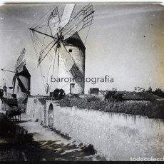 Fotografía antigua: MOLINOS POR IDENTIFICAR, 1915 APROX. CRISTAL POSITIVO ESTEREO 6X13 CM.. Lote 199154128
