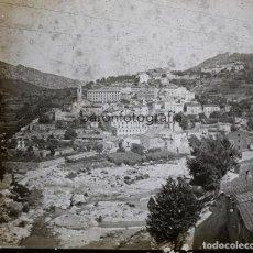 Fotografía antigua: PUEBLO POR IDENTIFICAR, 1915 APROX. CRISTAL POSITIVO ESTEREO 6X13 CM.. Lote 199154762