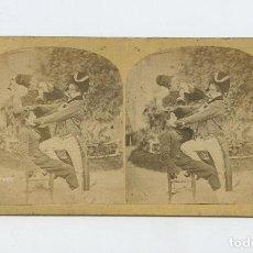 Fotografía antigua: RETRATO CÓMICO DE 3 PRESONAJES, SIN DATOS. ALBÚMINA 8,5 X 17 CM.. Lote 199257226