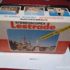 Fotografía antigua: VISOR STEREOSCOPICO LESTRADE CON 5 TIRAS DE LOURDES, LUCHON, PROVENCE, CHAMONIX, BIARRITZ. Lote 203867043