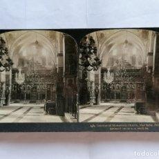 Fotografía antigua: FOTOGRAFIA ESTEREOSCOPICA, INTERIOR DE LA YGLESIA DEL MONASTERIO, MAR SABA, PALESTINA, AÑO 1903. Lote 206922293