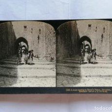 Fotografía antigua: FOTOGRAFIA ESTEREOSCOPICA, CALLE CONDUCIENDO AL PALACIO DE HERODES, JERUSALEN-PALESTINA, AÑO 1903. Lote 206922432