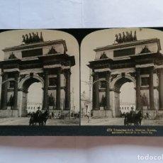 Fotografía antigua: FOTOGRAFIA ESTEREOSCOPICA, ARCO DE TRIUNFO, EN MOSCU - RUSIA, AÑO 1903, RARA. Lote 206923087