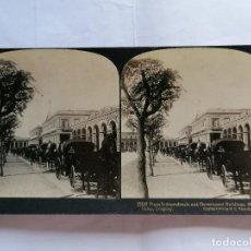 Fotografía antigua: FOTOGRAFIA ESTEREOSCOPICA, PLAZA INDEPENDENCIA Y EDIFICIOS DEL GOBIERNO, MONTEVIDEO, AÑO 1903, RARA. Lote 206923536