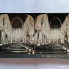 Fotografía antigua: FOTOGRAFIA ESTEREOSCOPICA, INTERIOR DE LA CATEDRAL, QUEENSTOWN, IRLANDA, AÑO 1903, RARA. Lote 206924881