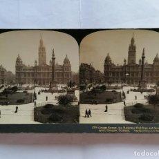 Fotografía antigua: FOTOGRAFIA ESTEREOSCOPICA, GEORGE SQUARE, THE MUNICIPAL BULLDINGS AND SCOTT MONUMENT, AÑO 1903, RARA. Lote 206925672