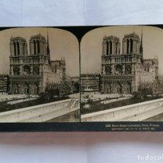 Fotografía antigua: FOTOGRAFIA ESTEREOSCOPICA, LA CATEDRAL DE NUESTRA SEÑORA DE PARIS, FRANCIA, AÑO 1903. Lote 206925892