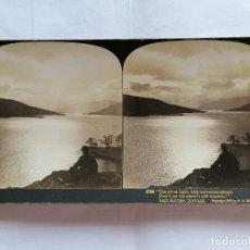 Fotografía antigua: FOTOGRAFIA ESTEREOSCOPICA, LAGO KATRINE, ESCOCIA, AÑO 1903. Lote 206926578