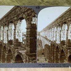 Fotografía antigua: FOTOGRAFÍA ESTEREOSCÓPICA UNDERWOOD & UNDERWOOD. Nº 49-2265 ACUEDUCTO DE SEGOVIA. 1902. Lote 211730894