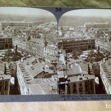 Fotografía antigua: FOTOGRAFÍA ESTEREOSCÓPICA UNDERWOOD & UNDERWOOD. Nº 36-2178 PLAZA MAYOR DE MADRID. 1908. Lote 211730920