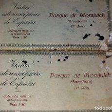Fotografía antigua: VISTAS ESTEREOSCÓPICAS * PARC DE MONTJUIC * SERIE 2 ª + SERIE 3ª -(LEER DESCRIPCIÓN ). Lote 213478745