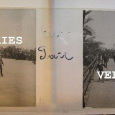 Fotografía antigua: VISTA DE PATINADORES. ESTEREO VIDRIO POSITIVO. 4,5 X 10,5 CM CADA UNO. Lote 215190955