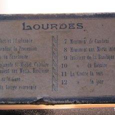 Fotografía antigua: CAJA CON 11 VISTAS DE LOURDES. A. ROGÉ (LOURDES) ESTEREOS VIDRIO POSITIVO. 4,5 X 10,5 CM CADA UNO. Lote 215192385