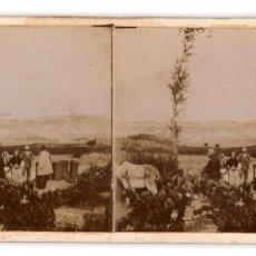 Fotografía antigua: NOMBREVILLA.(ZARAGOZA).- UN DESCANSO EN LA VENDIMIA.. Lote 219051758