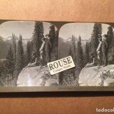 Fotografía antigua: CANADA - ANTIGUA FOTOGRAFIA ESTEREOSCOPICA - 1901 HERMIT RANGE FROM HALF -WAY ROCKS SELKIRK MTS CANA. Lote 221887312