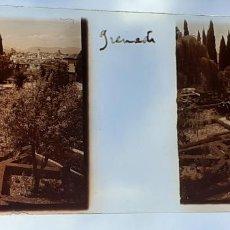 Fotografía antigua: GRANADA JARDINES DE EL GENERALIFE ANTIGUO CRISTAL ESTEREOSCOPICO 6 X 11 CMTS. Lote 226558735