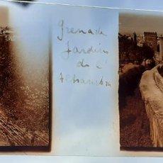 Fotografía antigua: GRANADA JARDINES DE LA ALHAMBRA ANTIGUO CRISTAL ESTEREOSCOPICO 6 X 11 CMTS. Lote 226559510