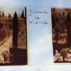 Fotografía antigua: GRANADA EL GENERALIFE ANTIGUO CRISTAL ESTEREOSCOPICO 6 X 11 CMTS. Lote 226559895
