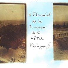 Fotografía antigua: EL ESCORIAL MADRID DESDE LA TERRAZA DEL HOTEL FELIPE II ANTIGUO CRISTAL ESTEREOSCOPICO 6 X 11 CMTS. Lote 226560442