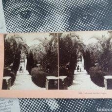 Fotografía antigua: VISTA ESTEREOSCOPICA SEVILLA JARDINES ALCAZAR KILBURN 5836 ALBUMINA S,XIX. Lote 226569935