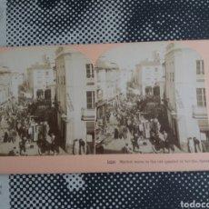 Fotografía antigua: VISTA ESTEREOSCOPICA SEVILLA MERCADO RASTRO EL JUEVES CALLE KILBURN DAVIS 15224 ALBUMINA S,XIX. Lote 226570630