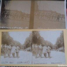 Fotografía antigua: VISTA ESTEREOSCOPICA LOTE 4 RAMBLA MILITARES PLAZA REAL TOROS 1901 BARCELONA S.XIX. Lote 226607645