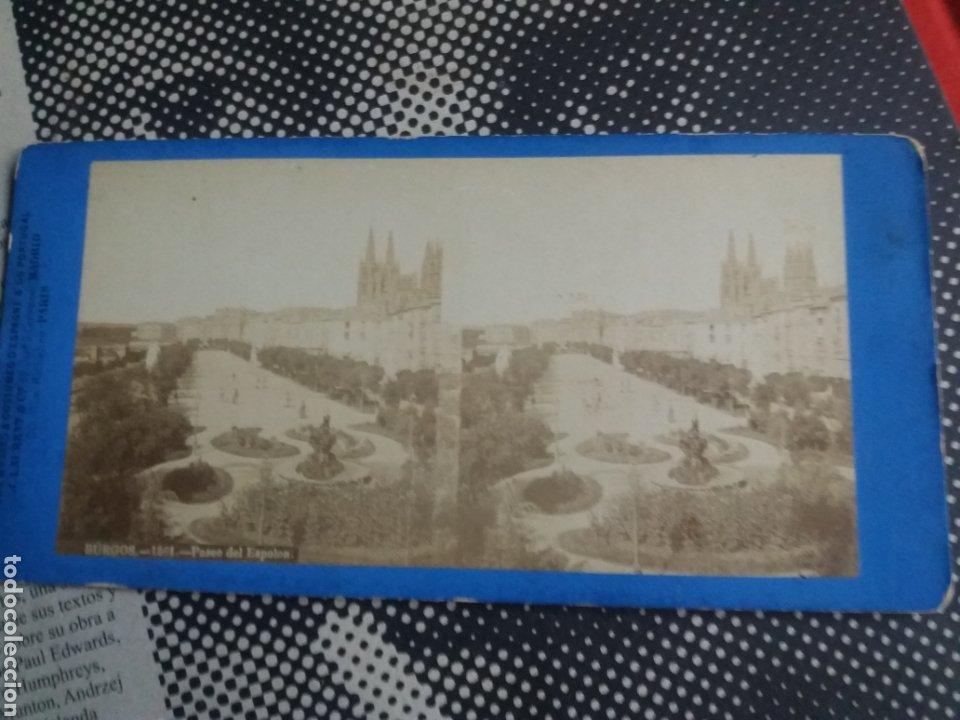VISTA ESTEREOSCOPICA LAURENT BURGOS PASEO DEL ESPOLON Nº 1561 S.XIX (Fotografía Antigua - Estereoscópicas)