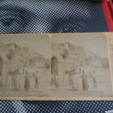 Fotografía antigua: VISTA ESTEREOSCOPICA TARRAGONA PUERTA DE SAN ANTONIO MURALLAS LEVY S.XIX. Lote 226616620