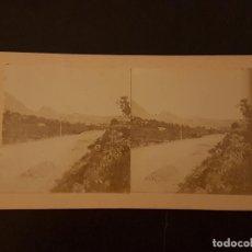Fotografía antigua: JIJONA ALICANTE CARRETERA Y VISTA VISTA ESTEREOSCOPICA HACIA 1890. Lote 226646690