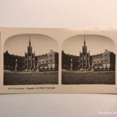 Fotografia antiga: BARCELONA ESTEREOSCOPICA NO.9, HOSPITAL DE SAN PABLO, FACHADA.. COLECCION A. MARTÍN, BARCELONA. Lote 230106040