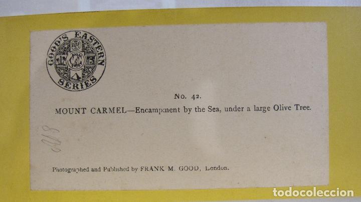 Fotografía antigua: 1 CARTON ESTEREO.MOUNT CARMEL ENCAMPMENT BY THE SEA. Frank Mason Good. LONDRES . 8,5 X 17 CM. - Foto 4 - 235994775